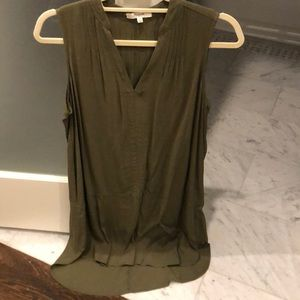 Madewell army green silk dress